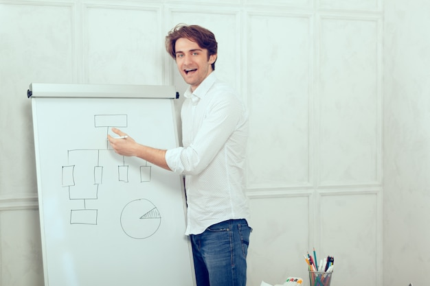 Man presenting by the flipchart