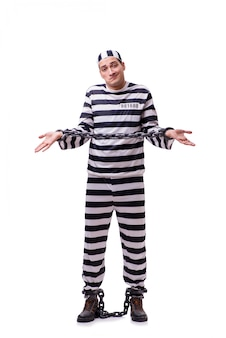 Man prisoner isolated on white