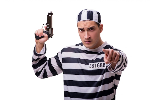 Man prisoner with gun isolated on white