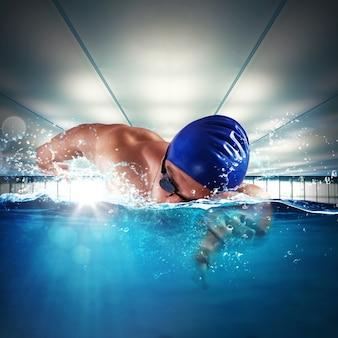 남자 전문 수영 수영장에서 수영