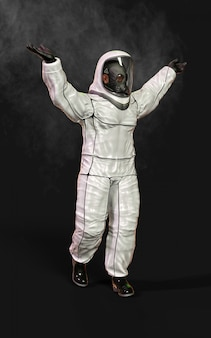 Man in protective biohazard suit, wearing mask and surrounded by smoke