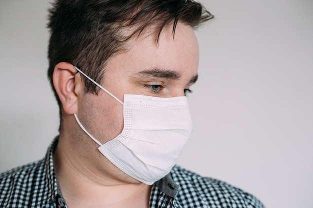 Man in protective mask to protect from viruses