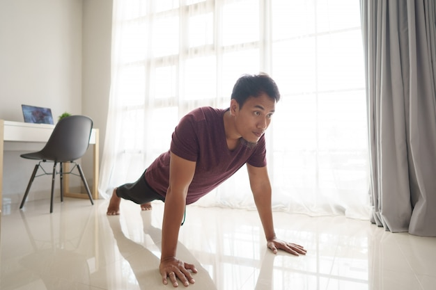 Man push up from home
