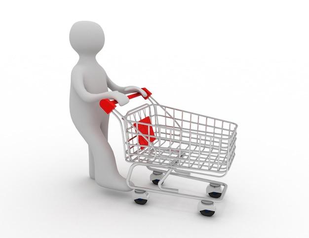 空のショッピングカートを押す男