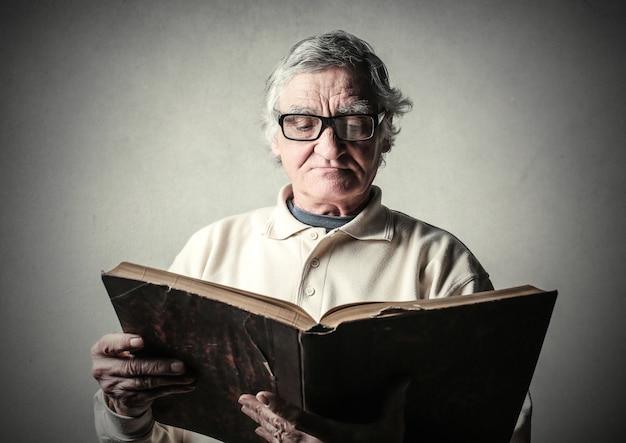 Man reads a book