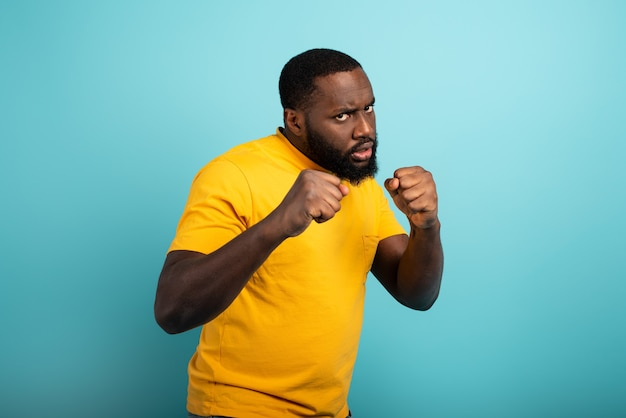 Man ready to attack someone