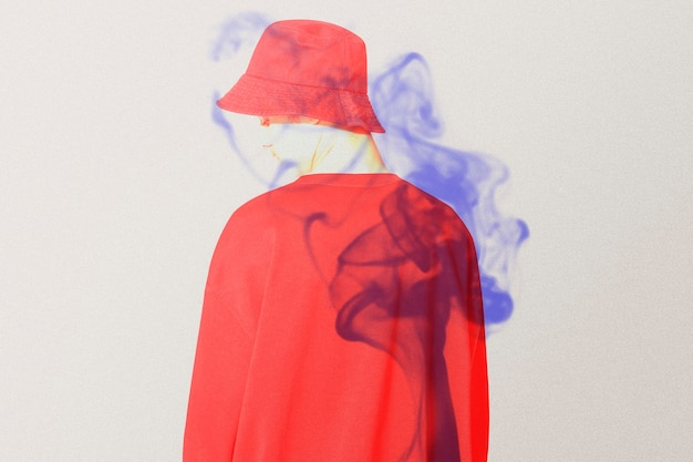 Man rear view in double color exposure remixed media