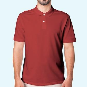 Man in red polo shirt apparel studio shoot