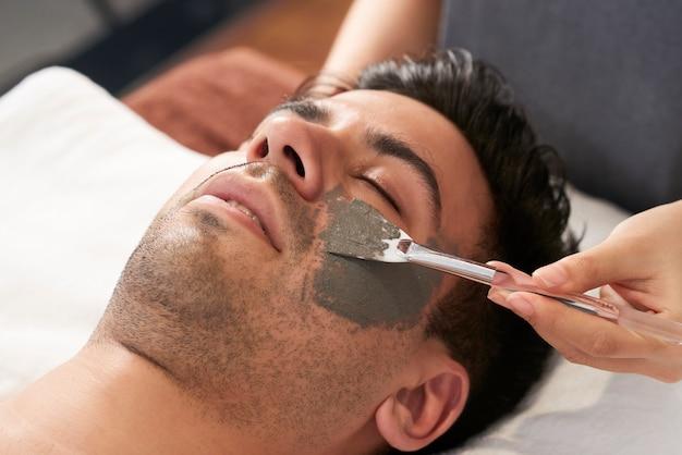 Man relaxing at spa