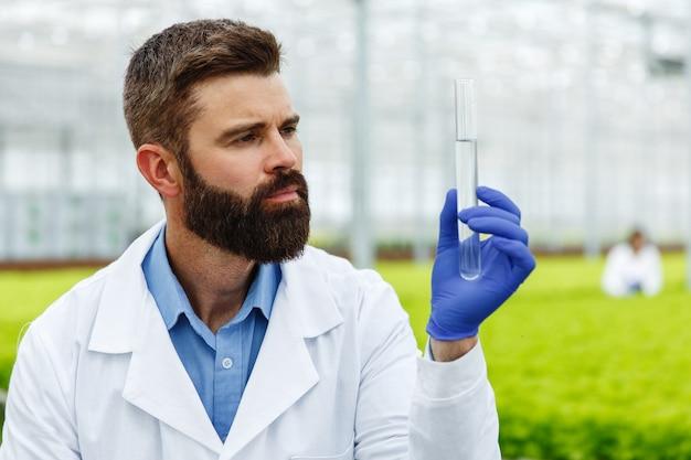Человек-исследователь держит стеклянную трубку с образцом, стоящим перед растениями в теплице