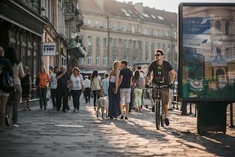 Man riding bike in street