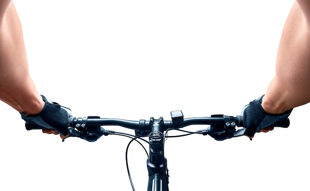 Человек, едущий на велосипеде. изолированные на белом