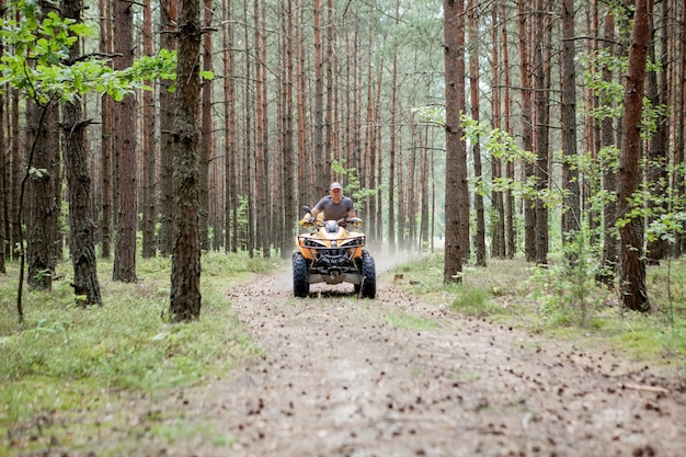 Man riding a yellow quad atv all terrain vehicle on a sandy forest.