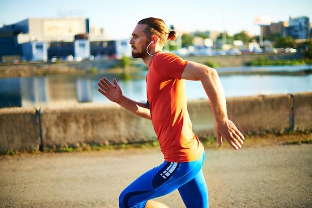Man running very fast Free Photo