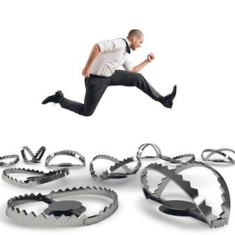 Man runs quickly to overcome the traps