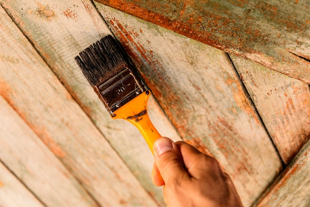 Man's hand holding paintbrush. color wall, blank space for your text, banner, copyspace, advertising, or your design.