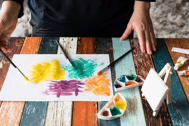Man's hand painting colorful brushstroke on white paper