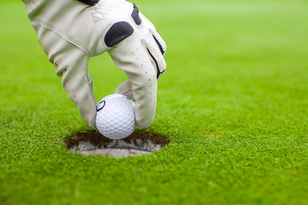 Man's hand putting a golf ball into hole on the green field