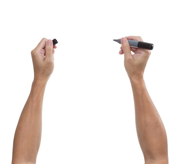 흰색 표면에 고립 된 검은 펜으로 남자의 손; 클리핑 경로