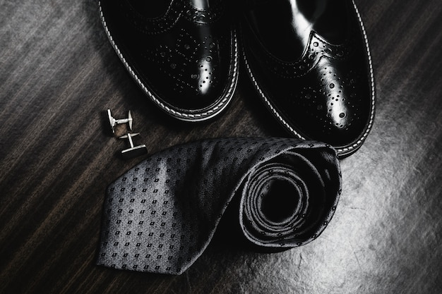 Man's style. men's accessories. shoes with tie and cuff