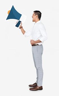 Man screaming into a megaphone