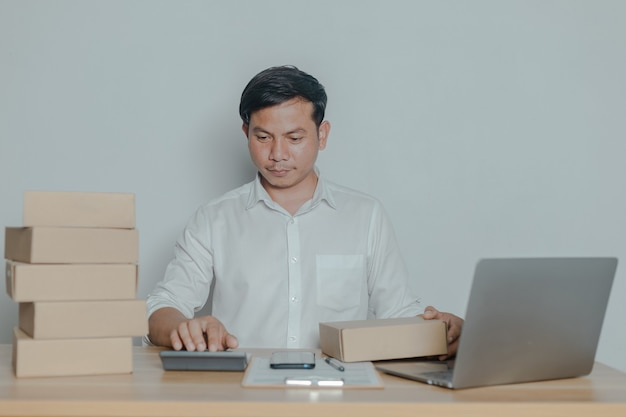 Man selling online at home small business ideas