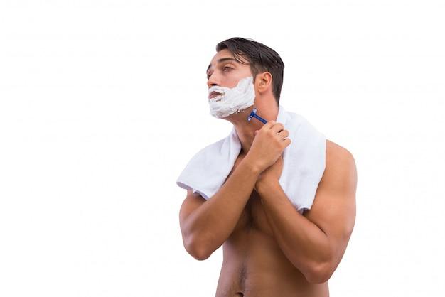 Man shaving isolated on white