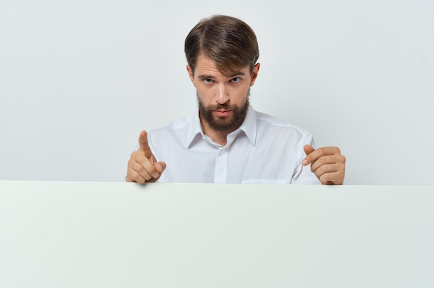Man in shirt advertising mockup poster