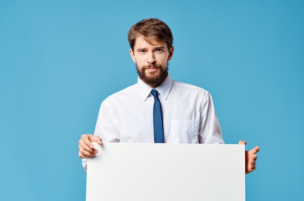 Man in shirt with tie white mockup advertisement presentation blue copy space.