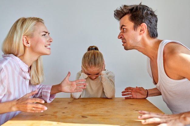 Man show aggression at home, punishing humiliating wife and child girl, have quarrel, argue
