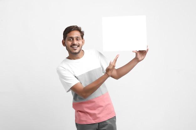 Man showing blank signboard