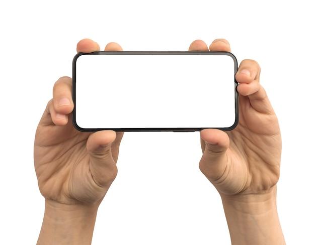 클리핑 패스 사진이 있는 흰색 배경에 격리된 휴대폰의 빈 흰색 화면, 복사 공간이 있는 모형을 보여주는 남자