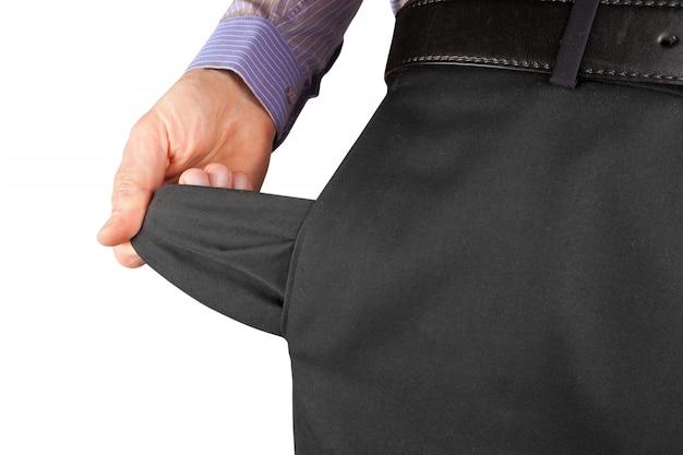 Man showing empty pocket  hand