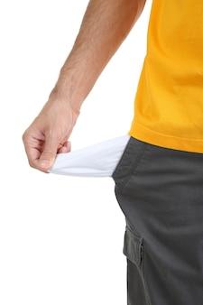 Человек показывает свой пустой карман, изолированные на белом