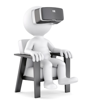 Man sitting on chair while using vr glasses. 3d illustration. isolated. contains clipping path