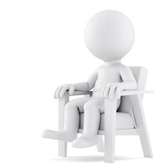 의자에 앉아 있는 남자. 3d 그림입니다. 외딴. 클리핑 패스 포함