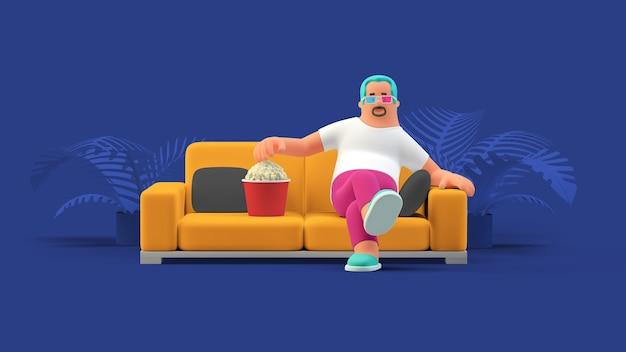 3d 안경을 쓰고 소파에 앉아 3d 비디오 게임을 보고 있는 팝콘을 먹는 남자.