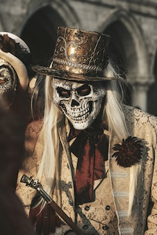 Man in skeleton costume. halloween celebration