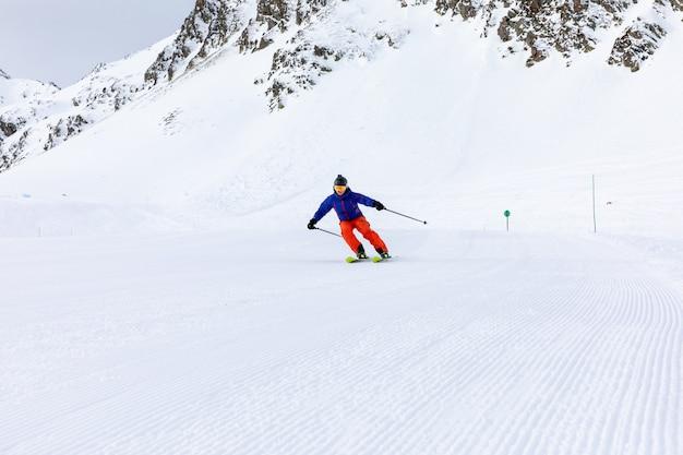 Man skiing on the ski slopes