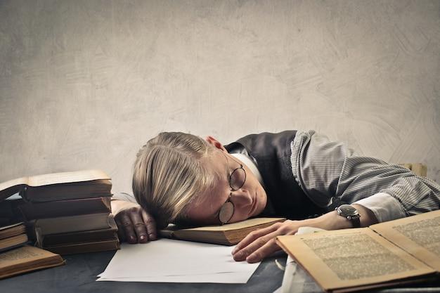 Man sleep on the desk