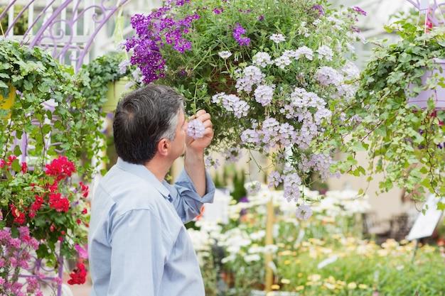 Man smelling flower