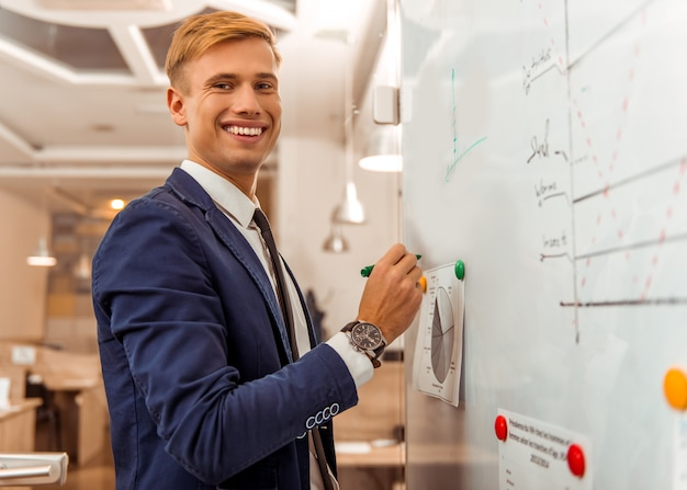 A man smiles and writes something on the board.