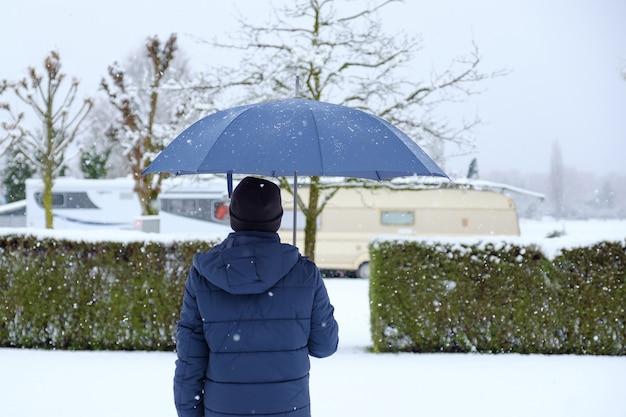 Man on snowy day