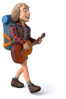 Man solo traveling backpacker - 3d character