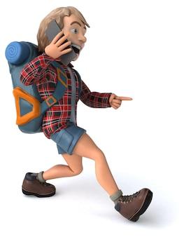 Man solo traveling backpacker 3d illustration