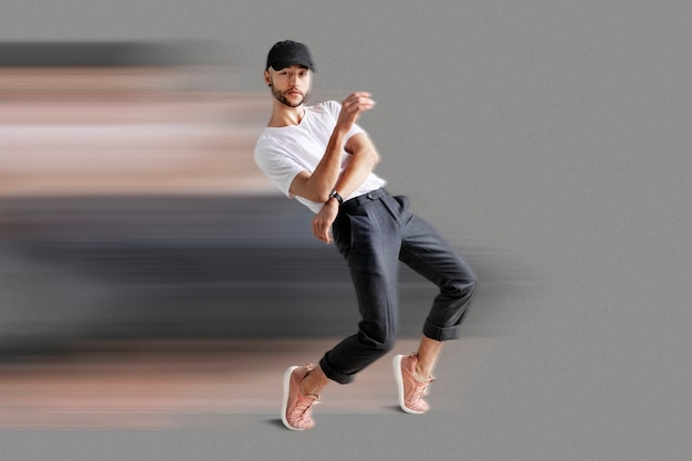 Man in speed motion style