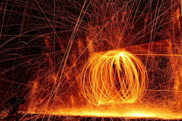 Man spinning fire - fire twirling