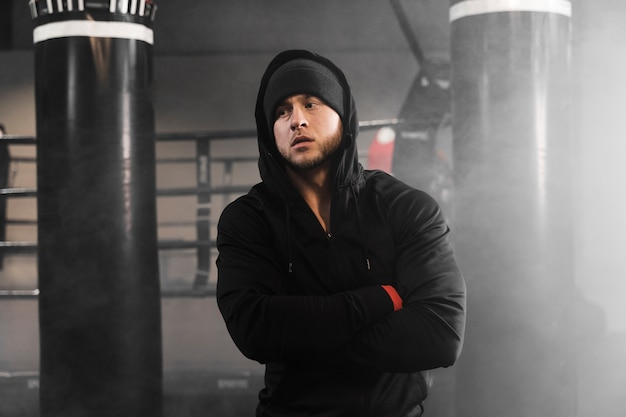Man in sportswear at the boxing training center