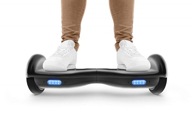 Man stand on black hover board isolated.
