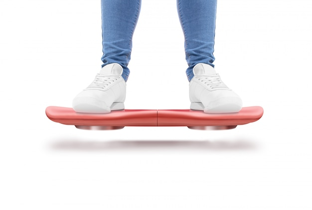 Man stand red hover board scooter isolated.